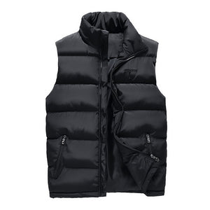 Autumn Vest Men Casual Stand Collar Men's Sleeveless Jacket Fashion Cotton Padded Winter Waistcoats Outerwear Coats Large Size-cgabuy