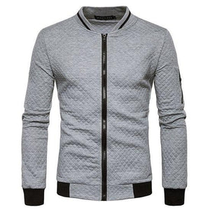New Trend White Jacket Men Veste Homme 2016 Bomber Mens Fashion Slim Fit Argyle Zipper Varsity Jacket Casual Jacket For Fall-cgabuy