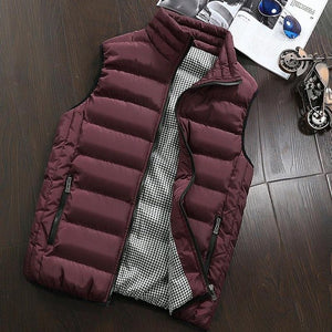 Autumn Vest Men Fashion Stand Collar Men's Sleeveless Jackets Casual Slim Fit Cotton Pad Coats Man Winter Waistcoats Plus Size-cgabuy