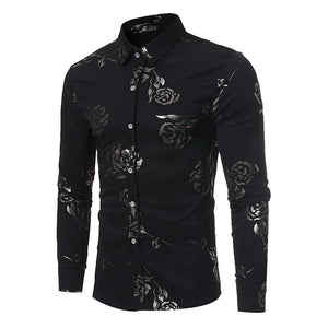 New Floral Print Shirt Men Slim Fit Chemise Homme 2017 Luxury Brand Rose Flower Print Mens Dress Shirts Camisa Social Masculina-cgabuy
