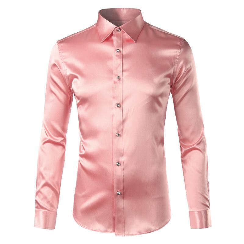 Pink Silk Satin Shirt Men 2017 Fashion Long Sleeve Mens Slim Tuxedo Shirts Casual Shiny Emulation Silk Button Down Dress Shirts-cgabuy
