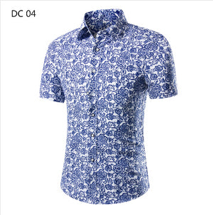 2018 Fashion Mens Short Sleeve Hawaiian Shirt Summer Casual Floral Shirts For Men Asian Size M-4XL 10 Color-cgabuy