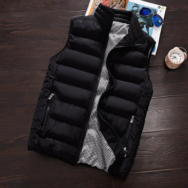 2017 New Shelves Fashion Men's Casual Collar Vest Jacket, Large Size Men's Sleeveless Cotton Vest Cotton Jacket Waistcoat M-5XL-cgabuy