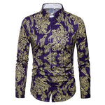 Luxury Brand Men's Paisley Shirt Chemise Homme 2018 Spring New Gold Floral Print Slim Fit Long Sleeve Dress Shirts Men Camisas-cgabuy