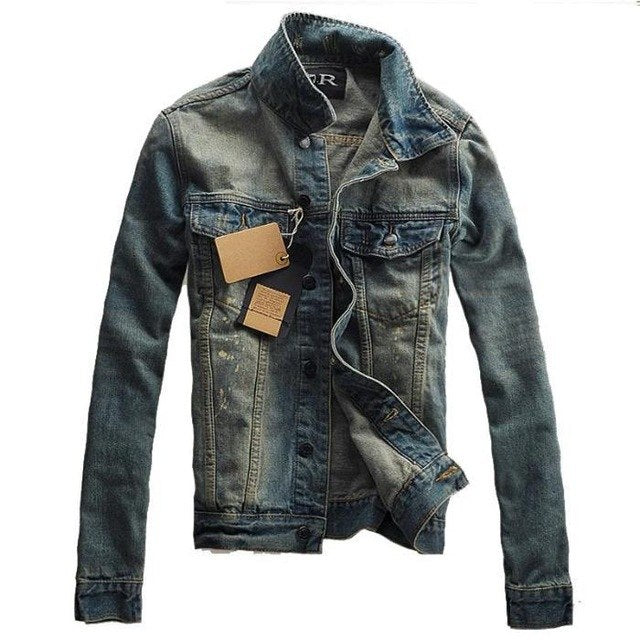 Men's Denim Jacket 2018 New Fashion Style Lapel Slim Hole Jacket-cgabuy
