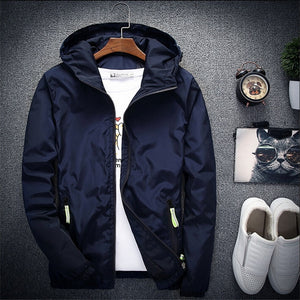 2018 New Spring Autumn Bomber Windbreaker Jacket Men Casual Slim Hooded Thin Zipper Raincoat Outwear Jacket Plus Size 6XL 7XL-cgabuy