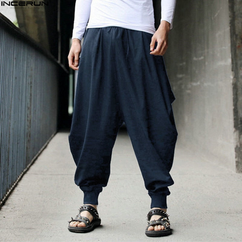 INCERUN Cotton Harem Pants Men Japanese Loose Boho Joggers Trousers Man's Cross-pants Crotch Pants Wide Leg Baggy Pants Men-cgabuy