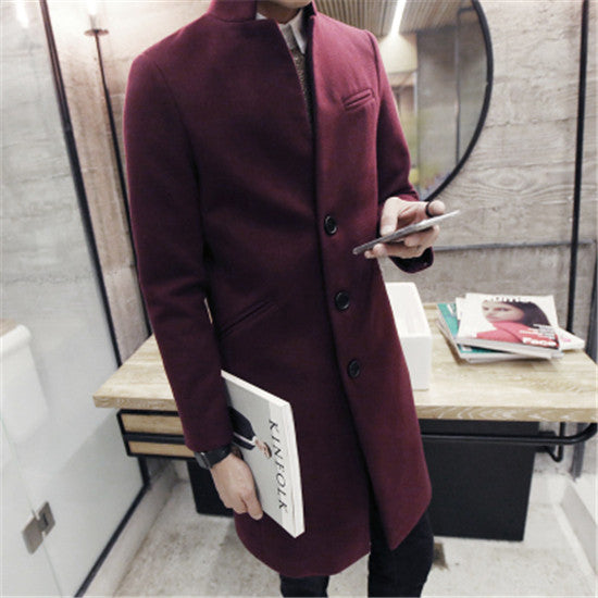 2018 autumn/winter fashion new men leisure pure color trench coat / man's single-breasted long windbreaker Wool Blends-cgabuy