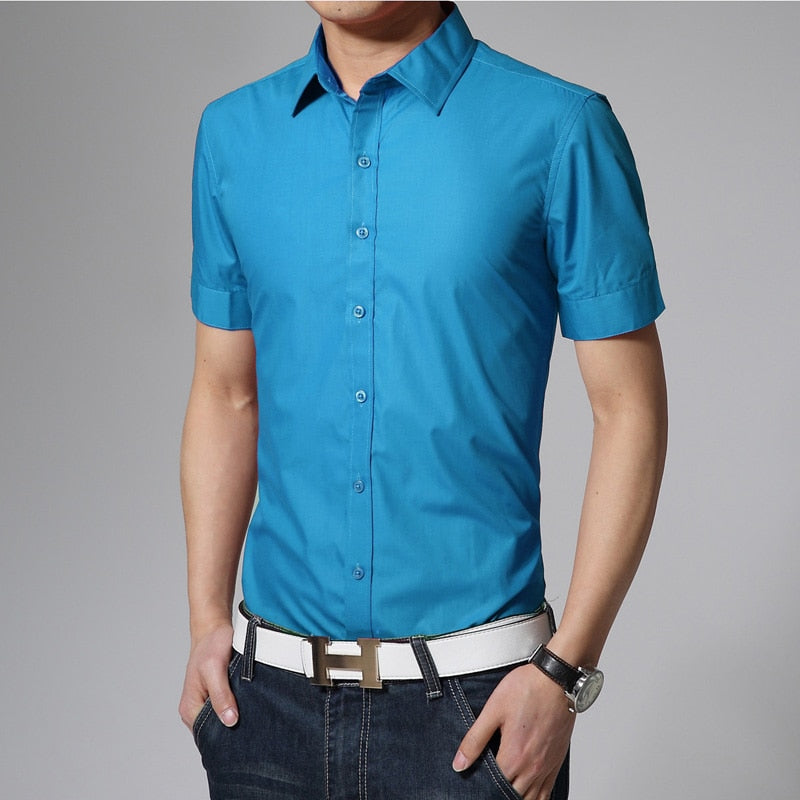 17 colors solid mens shirts short sleeve summer 2016 new brand camisetas hombre slim fit designer casual shirts size 3xl-cgabuy