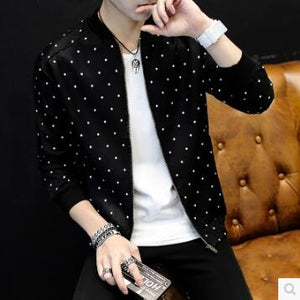 New Brand Baseball Collar Jacket Men Polka Dot Print 2018 Mens Bomber Jackets For Men Autumn Style Active Windbreaker Coat Male-cgabuy