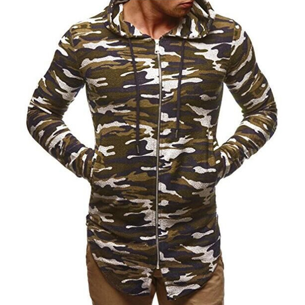 SANWOOD Men Casual Autumn Jackets and Coats Hip Hop Solid Camouflage Irregular Hooded Track Male Causal Fashion Zipper Jackets-cgabuy