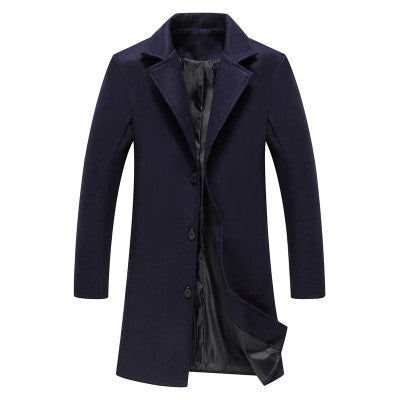 2018 Winter New Fashion Men Solid Color Single Breasted Trench Coat / Men Casual Slim Long Woolen Cloth Coat Large Size 5XL-cgabuy