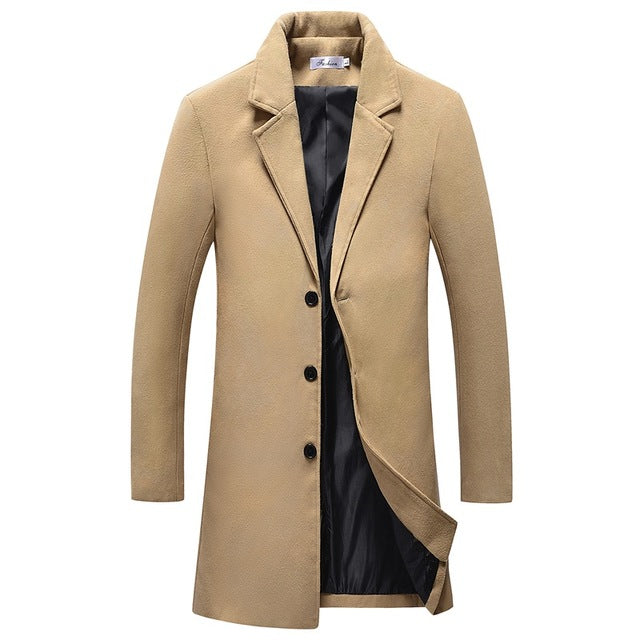 2018 winter Men's casual thicken woolen trench coat business coats Male solid color Slim fit overcoat Medium Long jackets-cgabuy