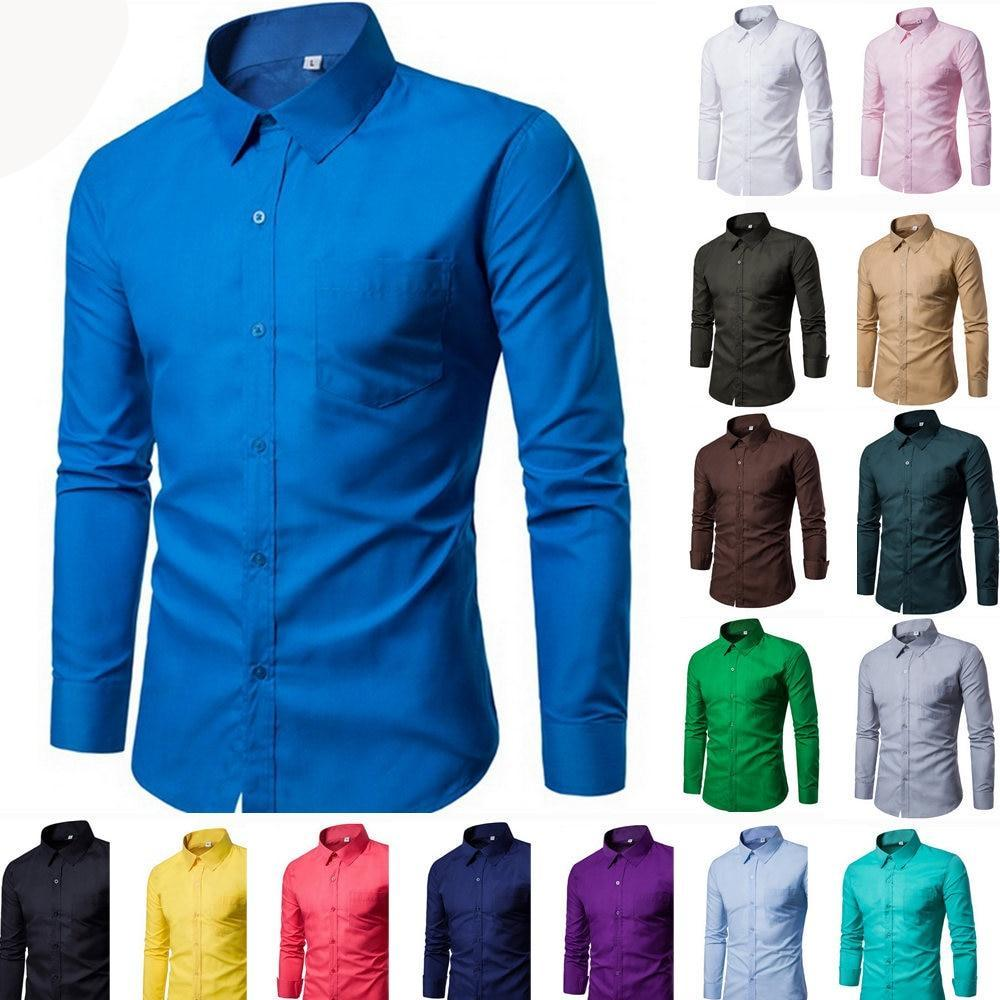 17 Colors Mens Shirt 2018 New Hot Long Sleeve Fashion Mens Casual Shirts Solid Color Business Slim Fit Social Camisas Masculina-cgabuy