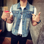 Mens Denim Vest 2018 New Brand Jeans Vests Men Slim Fit Sleeveless Jacket M-3XL size Patchwork Waistcoat Gliet Men 2 color-cgabuy