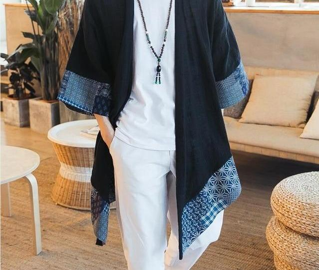 Zongke Chinese Kimono Cardigan Men Open Stitch Traditional Mens Kimono Cardigan Plus Size Long Kimono Jacket Men 2018 Summer-cgabuy