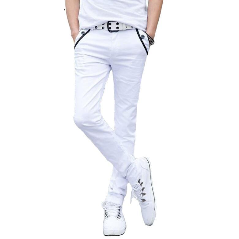 #2801 2018 Black/White Pencil Pants Men Casual Fashion Slim Skinny Trousers Summer Style Pantalon Homme Cotton pants Joggers-cgabuy