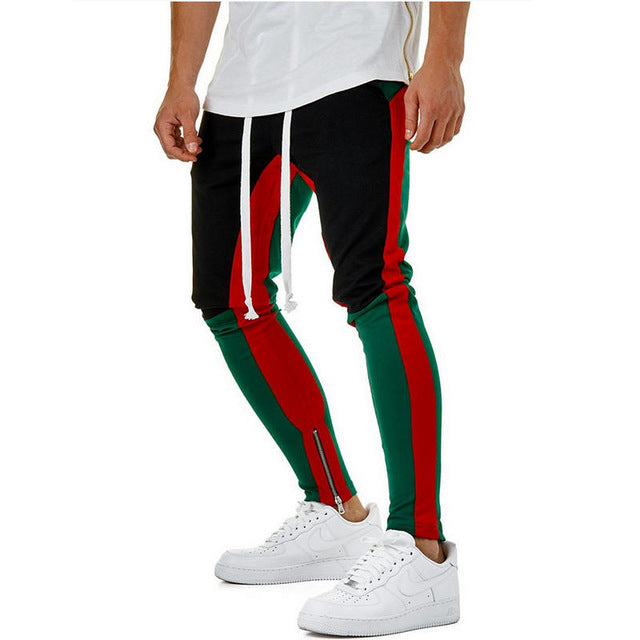 4 Stripe Banding Zip Ankle Contrast Pockets Panelled Waist Color Side Track Retro Zipped Pants Colors rq4RYr