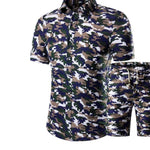 (Shirt + shorts)2018 summer mens Short sleeve Shirts beach shorts big men set of shirts and shorts cotton plus size M-4XL,5XL-cgabuy