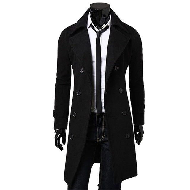 2018 New Arrivals Autumn Winter Trench Coat Men Brand Clothing Cool Mens Long Coat Top Quality Cotton Male Overcoat M-3XL T7-cgabuy