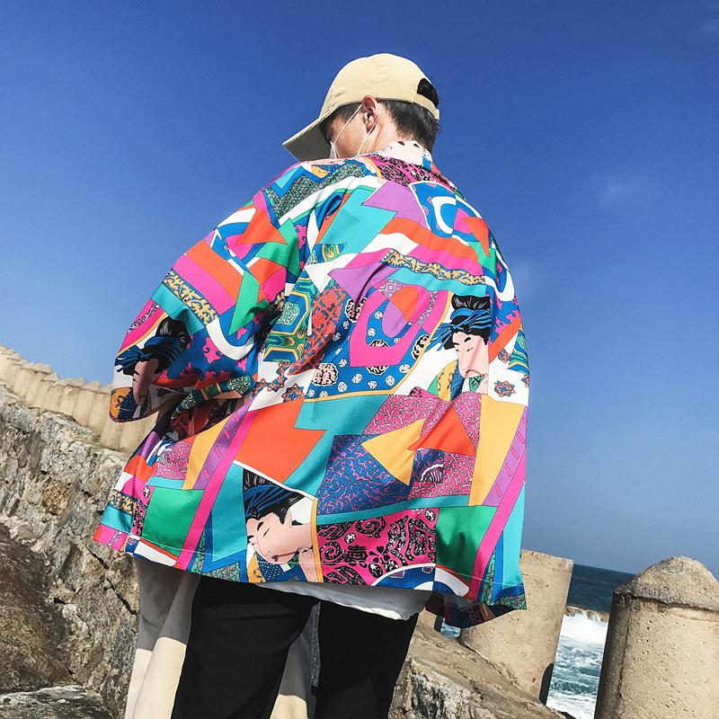 2018 summer Printed Japanese Style Kimono Jacket cardigan men clothing cardigan male streetwear hiphop casual coat loose kimono-cgabuy