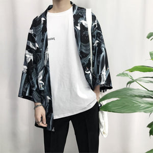 2018 summer men cotton & linen streetwear kimono Crane Printed Chiffon Shirt Sun Protection Outerwear Japanese Cardigan kimono-cgabuy