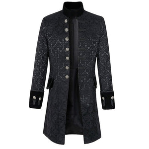 NIBESSER Vintage Long Sleeve Men Coat Fashion Plus Size Gothic Brocade Jacket Frock Coat Velvet Trim Steampunk Jacket Men cloth-cgabuy