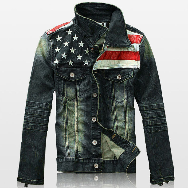 2018 Autumn Denim Jackets Men Fashion Pocket Men's Jean Jacket Star & Striped Slim Fit Casual Outerwear Vintage Retro Mens Coats-cgabuy