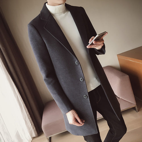 Men's Solid Color Wool Coat England Middle Long Coats Jackets Slim Fit Male Autumn Winter Overcoat Woolen Coat Plus Size M-5XL-cgabuy