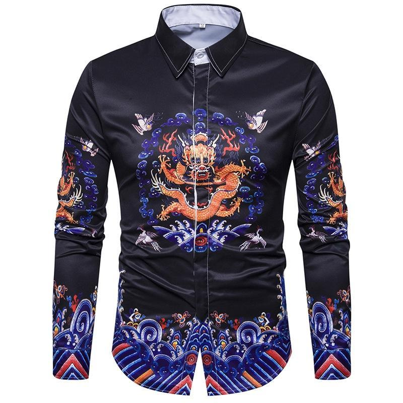 14 Colors The European Code of the new 3D printing family name wind robe long sleeved shirt Duijin retro-cgabuy