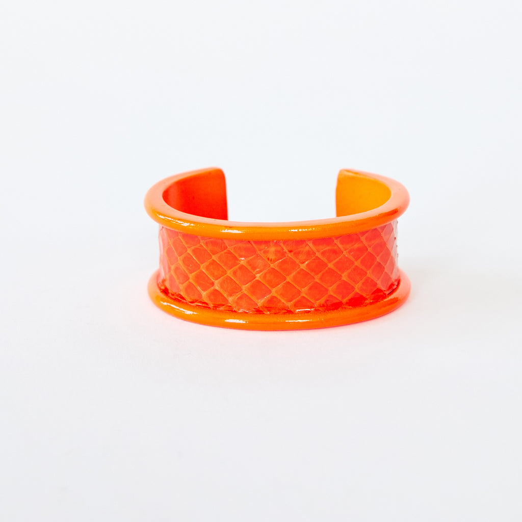 2cm cuff in powdercoated neon orange with orange Sea Snake inlay