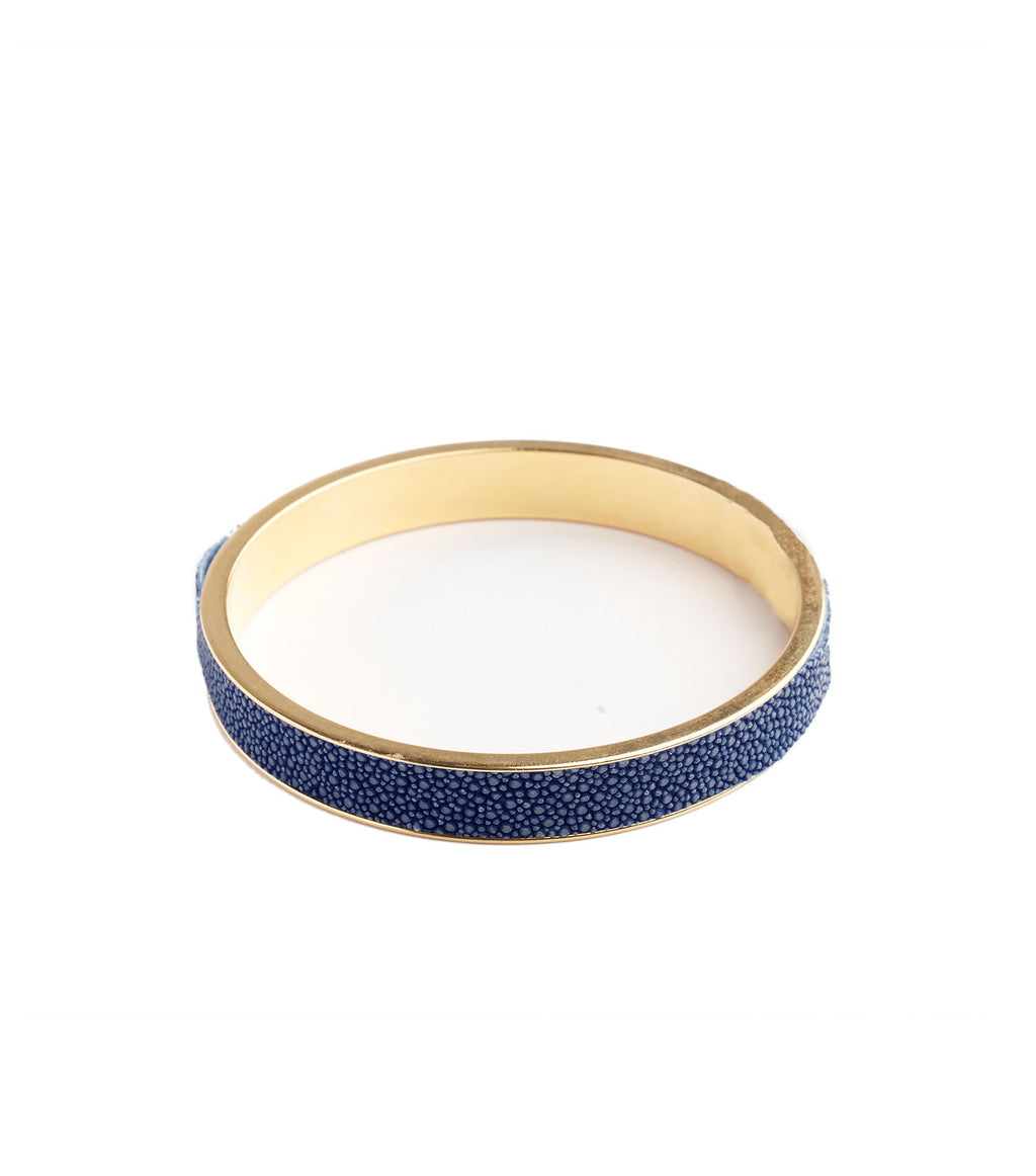Inlay Blue Stingray Leather Bangle Bracelet