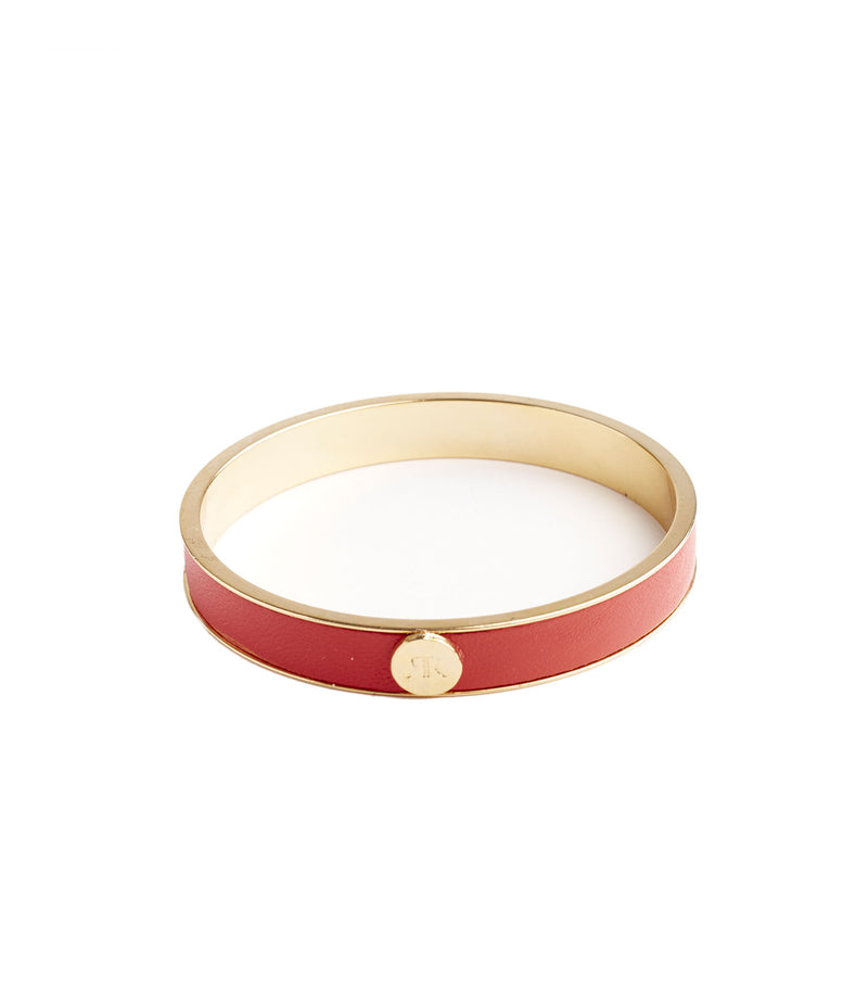 Inlay Red Leather Bangle Bracelet