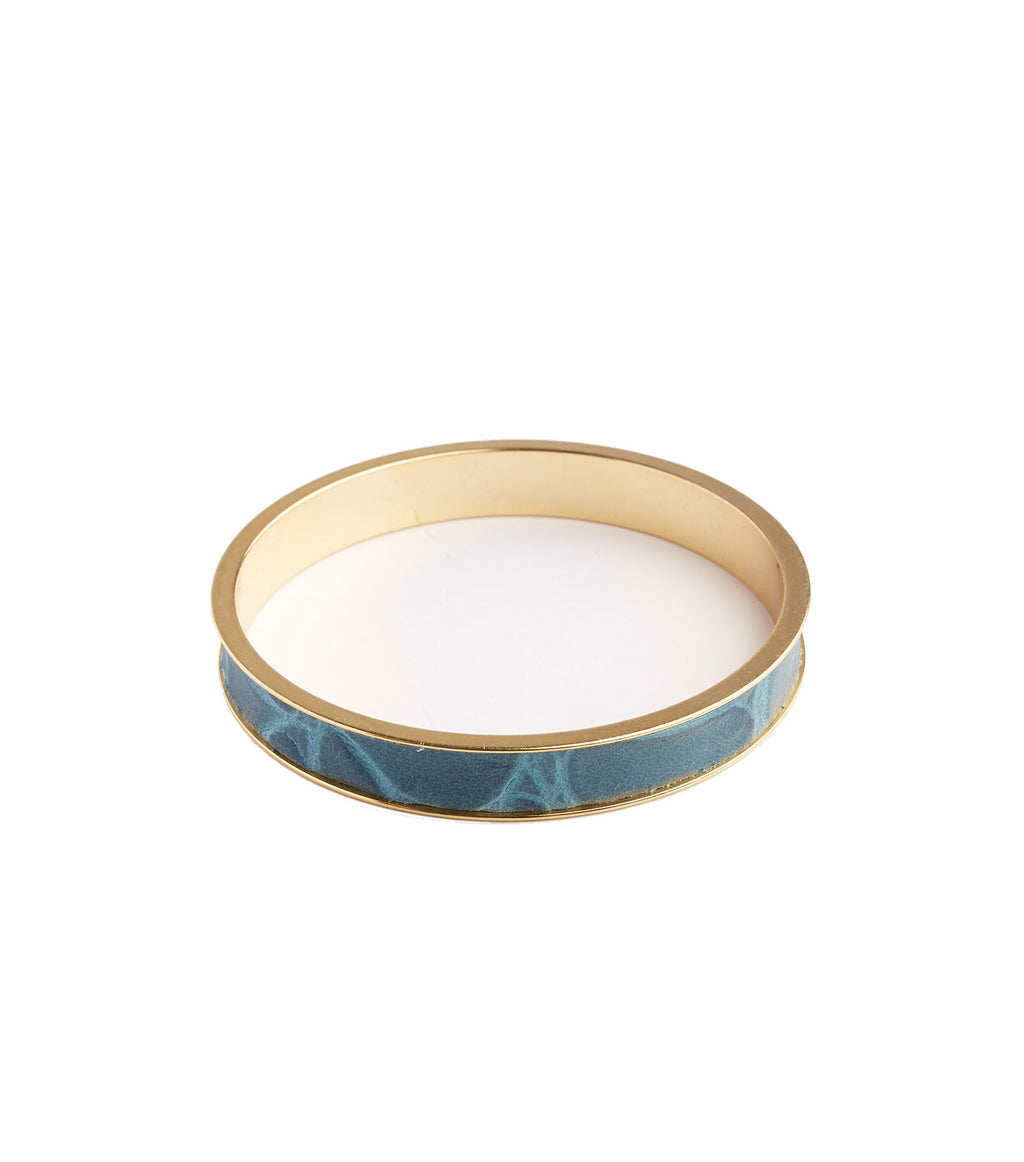 Inlay Teal Leather Bangle Bracelet
