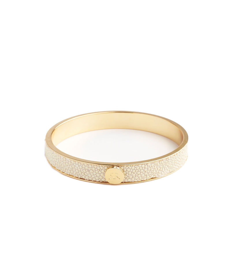 Inlay White Stingray Leather Bangle Bracelet