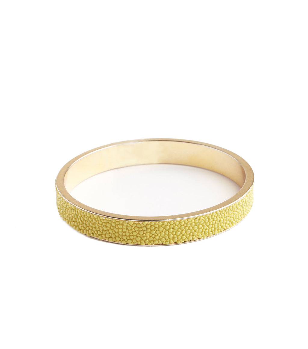 Inlay Yellow Leather Bangle Bracelet