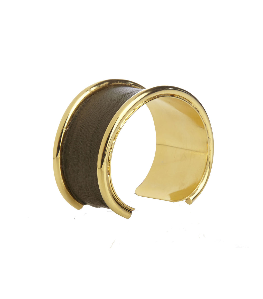 Inlay Khaki Leather Cuff Bracelet