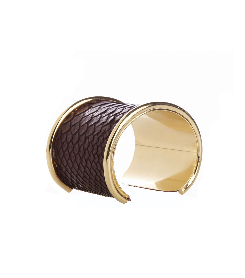 Inlay Oxblood Python Leather Cuff Bracelet