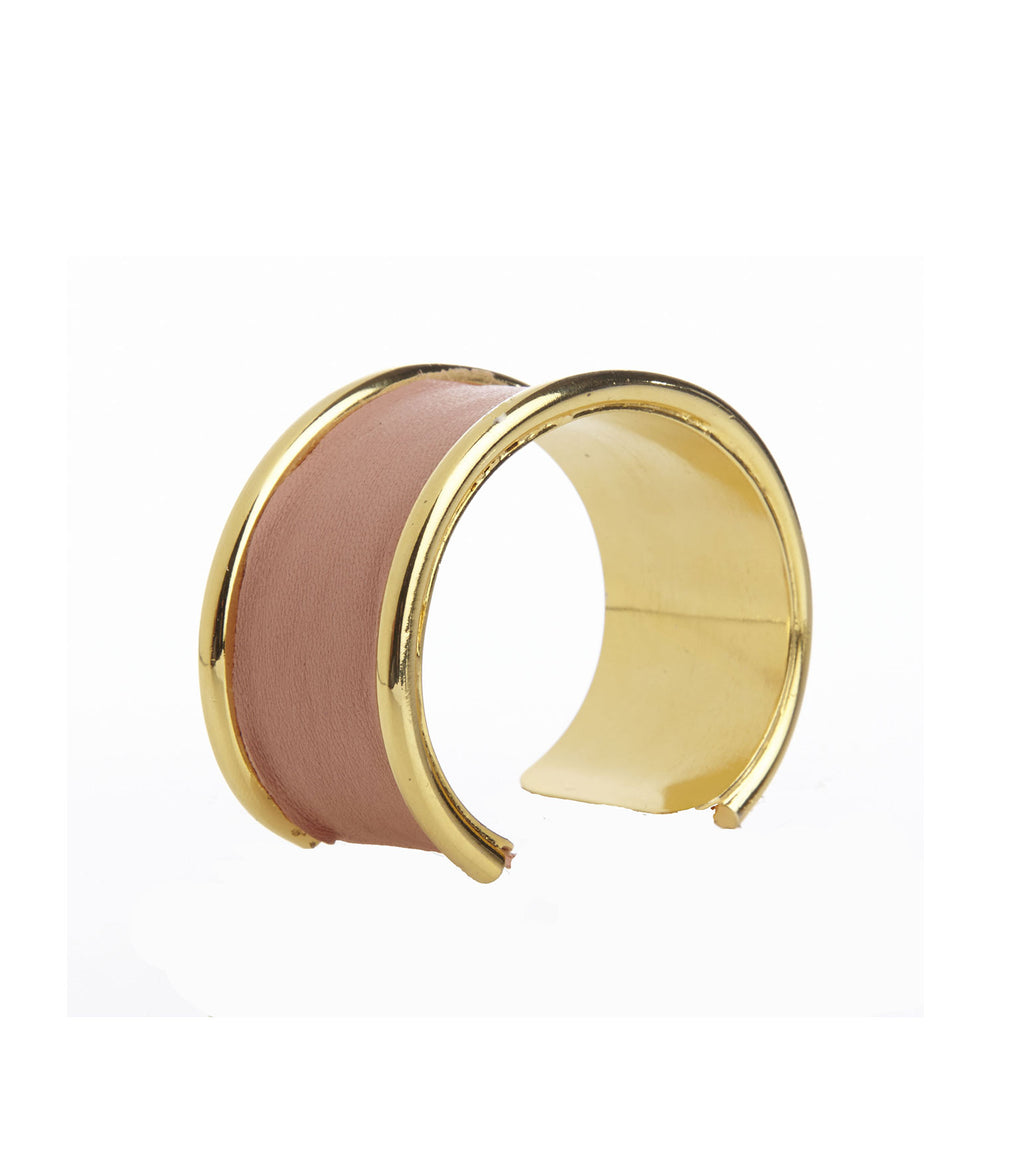 Inlay Pink Leather Cuff Bracelet