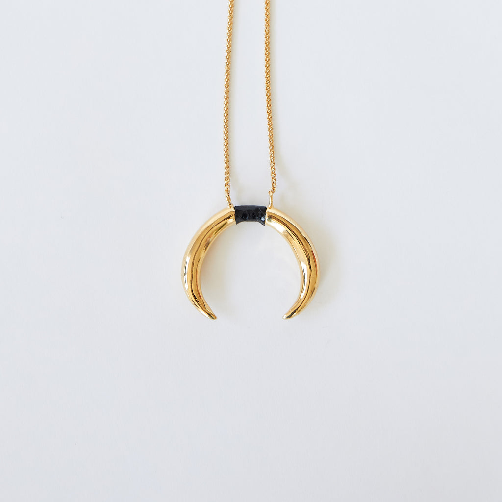 Double Horn Pendant Gold with Black Seasnake Inlay