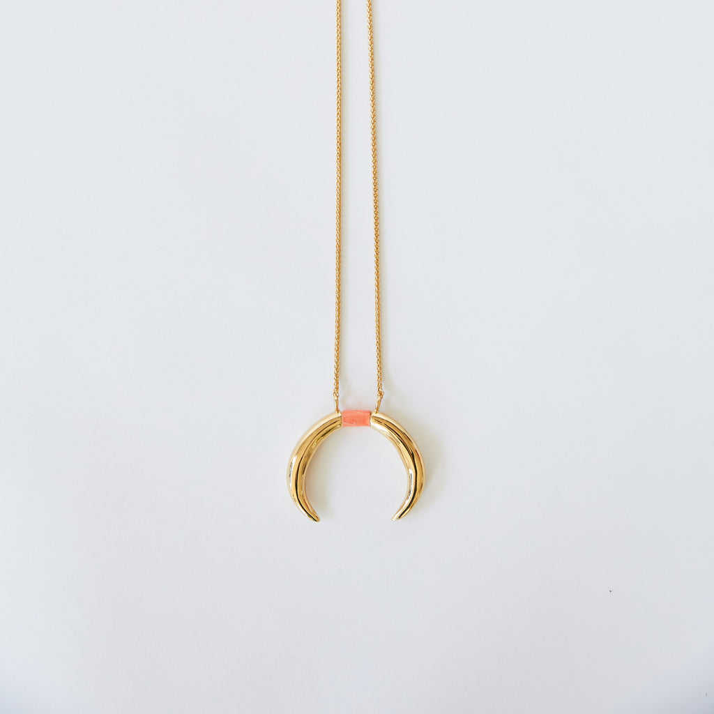 Double Horn Pendant Gold with Sherbet Seasnake Inlay