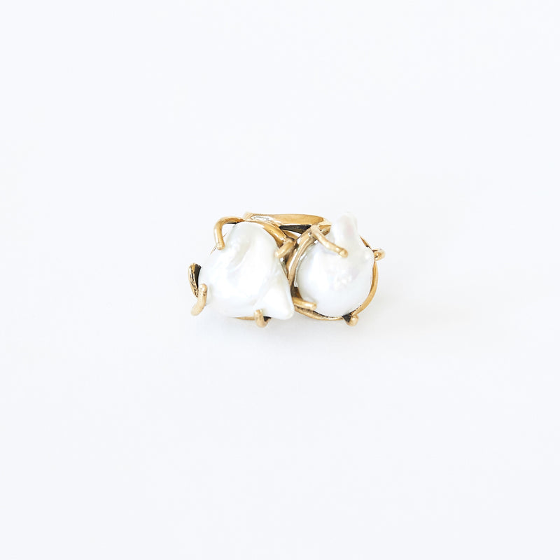 Double Pearl Ring White