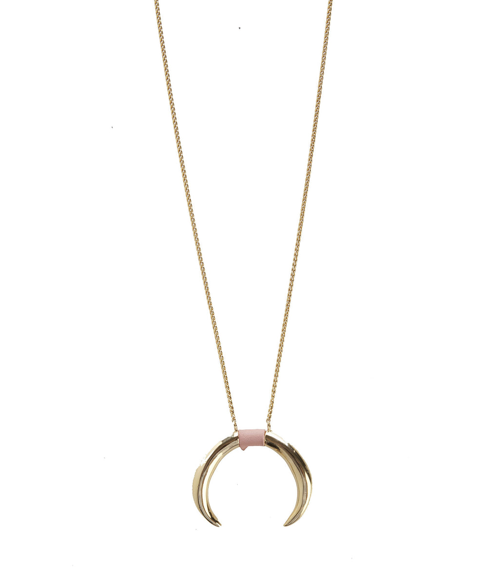 RR Necklace with Double Horn Pendant in Pink Inlay Leather