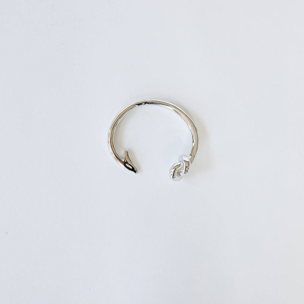 Hook and Knot Bangle in Silver