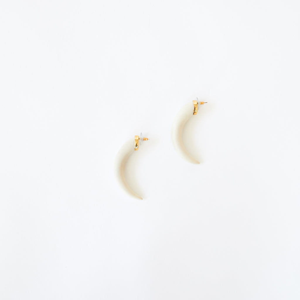Horn Earring in White