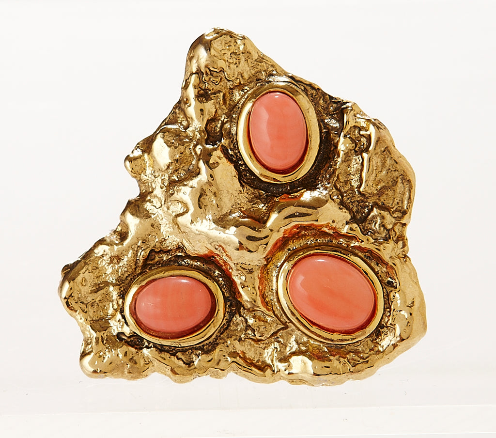 Melt Ring in gold with Coral