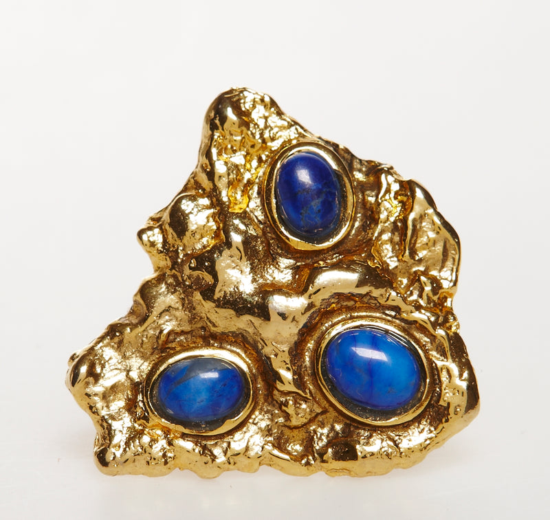 Melt Ring in gold with lapis