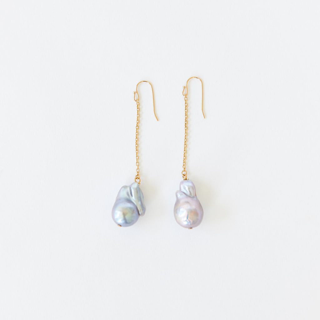 Pearl Chain Earrings Multi