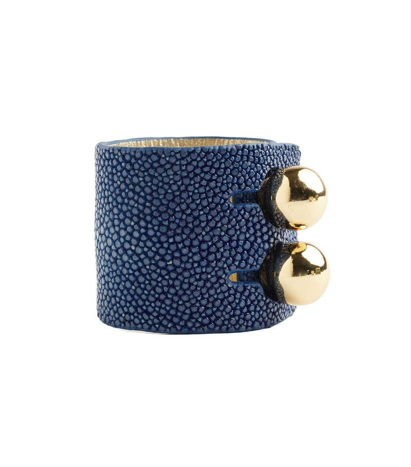 Wide Blue Stingray Leather Cuff