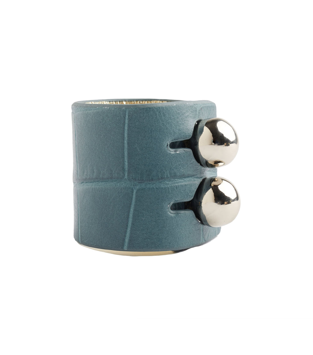 Wide Teal Croco Leather Cuff